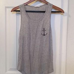 Grey and navy blue tank top